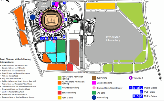 National Stadium parking - click to enlarge